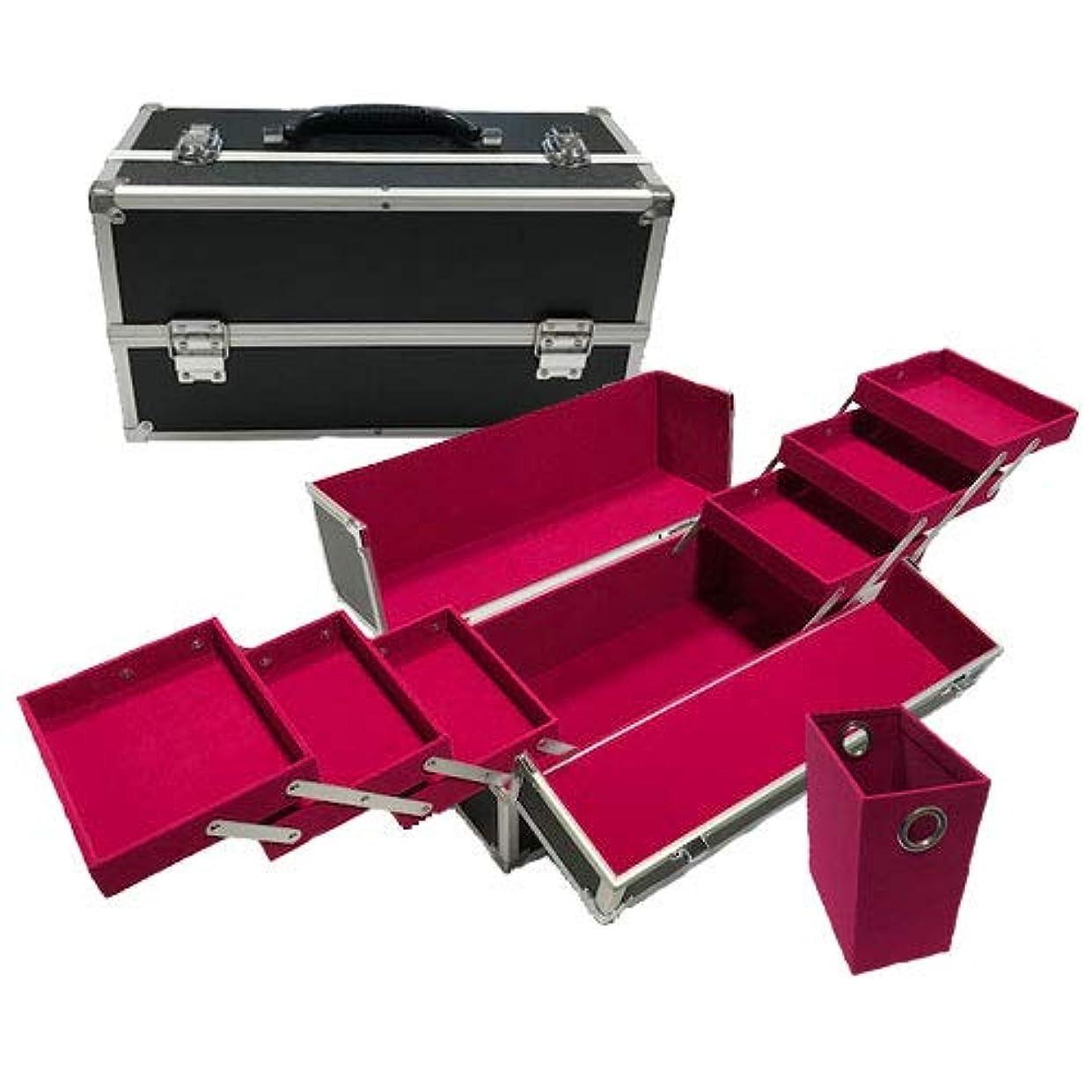 待ってつま先うぬぼれリライアブル コスメボックス ワイド RB202-BKVP 鍵付き プロ仕様 メイクボックス 大容量 化粧品収納 小物入れ 6段トレー ベロア メイクケース コスメBOX 持ち運び ネイルケース