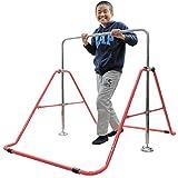 室内・屋外使用可 折りたたみ 鉄棒 レッド(赤) 子供用 40kgまで 高さ調整OK&組立カンタン