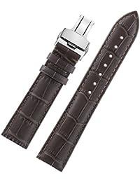 黒縫合銀の蝶クラスプ本物の牛革を持つ女の子のための16ミリメートルダークブラウン豪華でスタイリッシュな時計のブレスレット