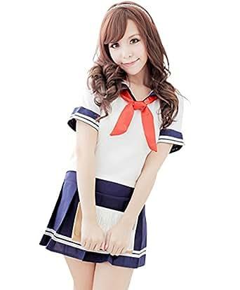 選べる ミニ セーラー服 【DauStage】 マイクロミニ セクシー コスプレ 仮装パーティー (01,赤リボン)