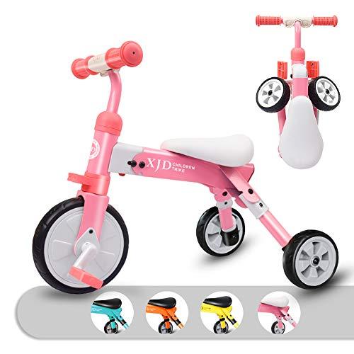 キッズ 三輪車 2 in 1 三輪車 2歳 子供用 折り畳み式 持ち運び易い T型ハンドル 2-4歳幼児に向け 誕生日プレゼントに最適 アウトドア&室内兼用(ピンク)