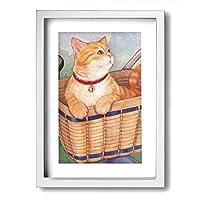ホワイトサン 田園猫 バスケット フォトフレーム A4 フレーム 壁掛け 壁アート 装飾画 壁飾り インテリア 部屋飾り アート ファション 装飾 枠付き 壁絵 現代壁の絵 絵 プレゼント ポスター アートフレーム パネル