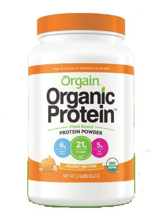 Organic Protein Plant Based Protein Powder 2.74lbs, Peanut Butter Flavor / オーガニックプロテインパウダー 1242g ピーナッツバター風味 [並行輸入品]