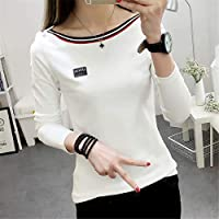 Tシャツ おんな レディース 学生 女性 快適 長袖 モノグラム ファッション 風合い プリント 若者 少女 コットン ラウンドネック カジュアル オールシーズン サイズ選択可 (Color : 2, Size : XXL)