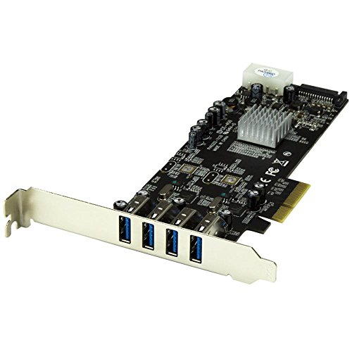 StarTech.com USB 3.0 4ポート増設PCIeカード 2個の専用5Gbpsチャネル UASP対応 SATA(15ピン) / ペリフェラル(4ピン) 電源付き PEXUSB3S42V