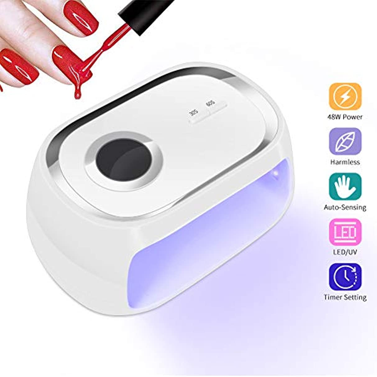 測定可能分布アルカイックネイルグルー用LED UVランプ、ジェルポリッシング用48Wクイックネイルドライヤー、ネイルライト、スマートオートセンシング、2つのタイマー設定、LEDデジタルディスプレイ、ネイルおよびネイル用ネイル