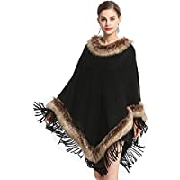 Cool&A Women's Poncho Capes Winter Capes Wraps with Faux Fur Collar Faux Fur Stoles