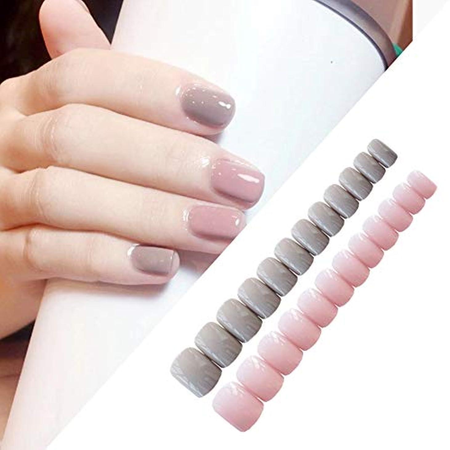 不信近似体細胞XUTXZKA 24個/セットライトグレーパウダースクエアヘッドソリッドカラー偽爪完成ネイルアート偽爪のヒント