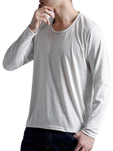 (オークランド) Oakland Uネック カットソー ツインロール 長袖 ゆる Tシャツ コットン ストレッチ カラー メンズ オートミール Mサイズ