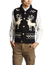 Canadian Sweater Company Deer Button Vest 09CN10: Mix Navy