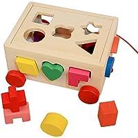 BUYITNOW Kids木製Shape Sortingブロックカート15図形教育玩具2歳児