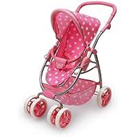 Badger Basket Six Wheel Doll Travel System Stroller and Carrier - Pink Polka Dots (fits American Girl dolls)