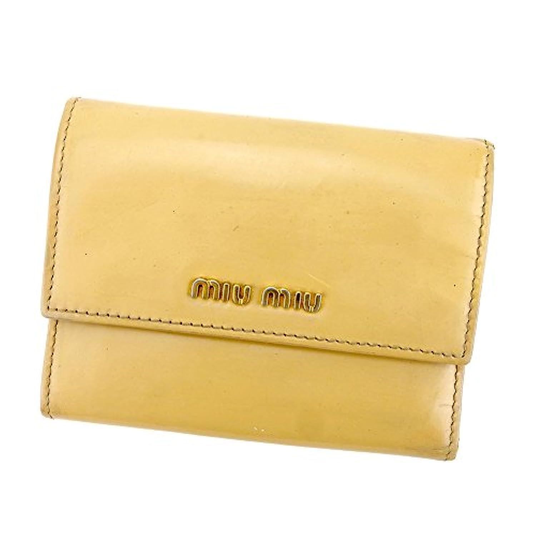 [ミュウミュウ] miu miu 三つ折り 財布 レディース ロゴ 中古 L2022