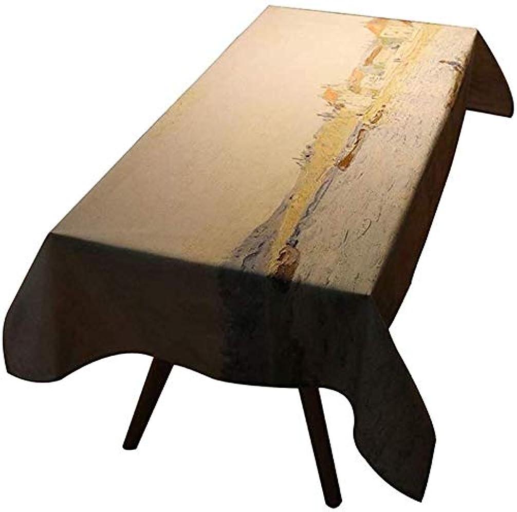 慈悲パイロット月アートホームインテリアテーブルクロス、有名な絵画テーブルクロス、ダイニングルームキッチン長方形の防水テーブルカバー(色:C、サイズ:140 * 180cm)