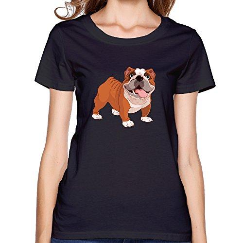 EMILYZ 女性着 トップス 今季最新 シャツ丸首シャツ 可愛い シャーペイ犬柄 ファッション タイツ 半袖Tシャツ Black 半袖シャツ 着心地が良い Size L