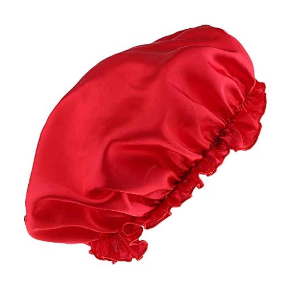 刃ドアミラーエピソードシャワーキャップ シルクサテンキャップ シルクサテン帽子 美容ヘッドカバー 浴用帽子 全8色 - 赤
