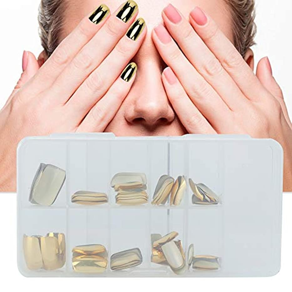 申請中弱い聴覚障害者フルカバー偽ネイルのヒント、70個入りバッグが付いているプラスチック人工ネイル、家庭でのDIYネイルアート、ネイルサロンゴールド/シルバー(1)