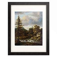 ヤーコプ・ファン・ロイスダール Jacob Izaaksz van Ruisdael 「Waterfall with fir tree.」 額装アート作品
