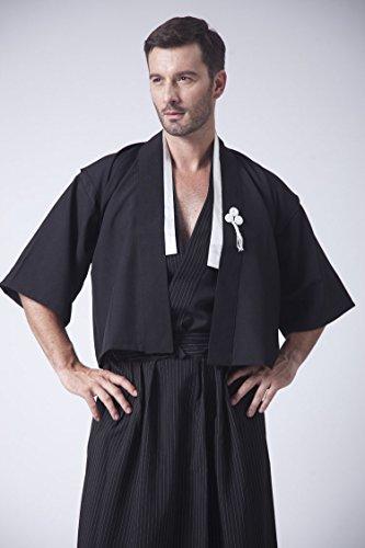 男性着物 一張羅 武士服 浴衣 和服 メンズセット 着物 甚平 祭り浴衣 扇子刺繍 3点セット(着物 上着 袴) (M, 粋な男ブラック)