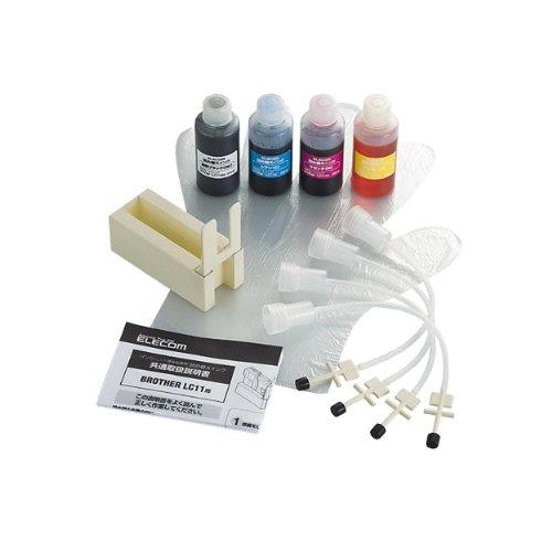 エレコム 詰め替えインク ブラザー LC11-4PK対応 4色セット カラー4回分 ブラック3回分 THB-11BCSET