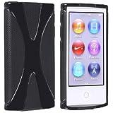 Apple iPod nano 7 デザイン カバー ケース TPU Jelly X Design Case (軽量モデル) アイポッドナノ 2012年 第7世代 iPod nano 7th 対応 + 液晶保護フィルム1枚【Mad X Black(黒)】