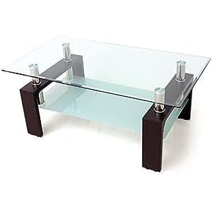 ローテーブル ガラステーブル 幅110cm 強化ガラス天板 ブリリアントカット テーブル ブラックウォルナット