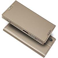 Sony Xperia XA1 Plus ケース 手帳型 xa1 plus ケース 手帳 XA1 プラス 手帳 財布ケース 【iCoverCase】 内蔵マグネット スマホケース カードポケット スタンド機能 軽量 超薄型 耐摩擦 【選べる4色】ゴールド