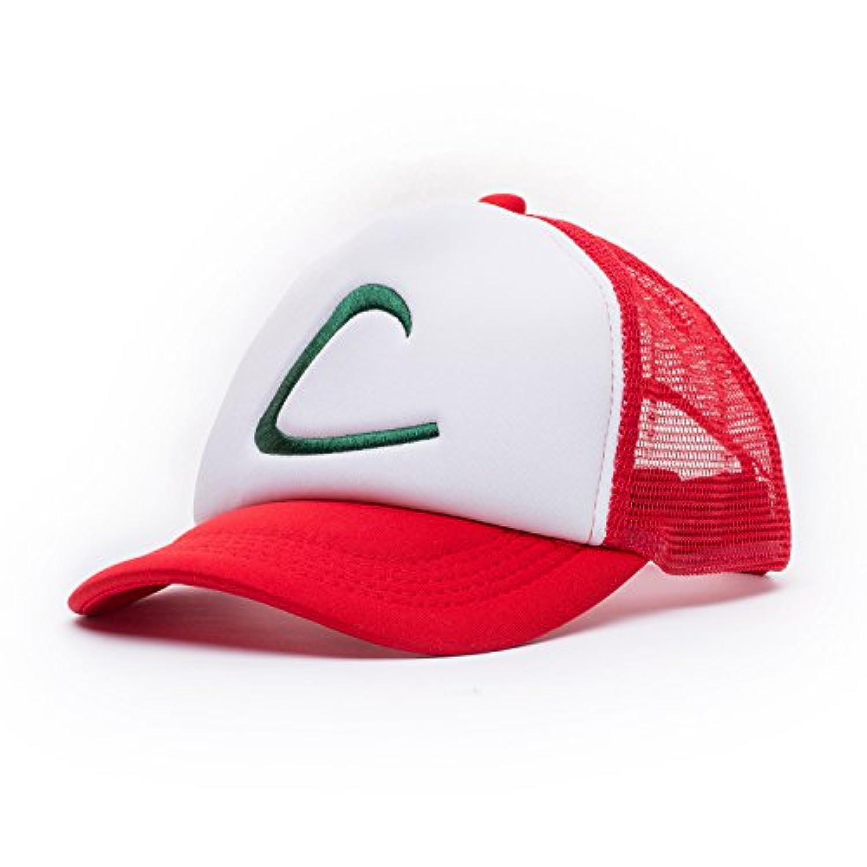 (Adult, Red White Green-10pcs) - Ash Ketchum Mesh Hat Cap for Adult 10 pcs