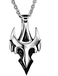 """UMtrade Classic Men Stainless Irregular Geometric Bulls Head Pendant Necklace with Chain 19.68"""""""