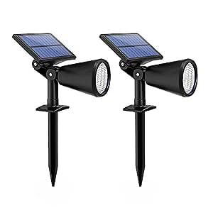 Setom ソーラーLEDライト ガーデンライト 太陽光充電 アウトドアライト IP65防雨防水 配線電池不要 照射距離10M ガーデニング/庭/花壇/坪に最適(2本セット)