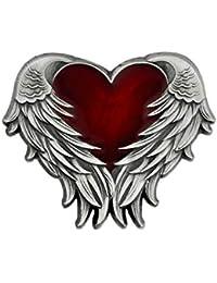 Pinmart 'sアンティークニッケル天使の翼とハートエナメルラペルピン 50 レッド