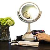 ミラー拡大化粧化粧台ミラホーム LEDライト付き化粧鏡、化粧用ミラーの照明、調光対応タッチスクリーンスイッチ付き照光式化粧鏡、1倍/ 5倍倍率、電池による両面携帯用化粧台ライトまたはデスクランプ用USB、ブルートゥース付き化粧鏡 LtHvoa (Color : White, Size : 6 inches)