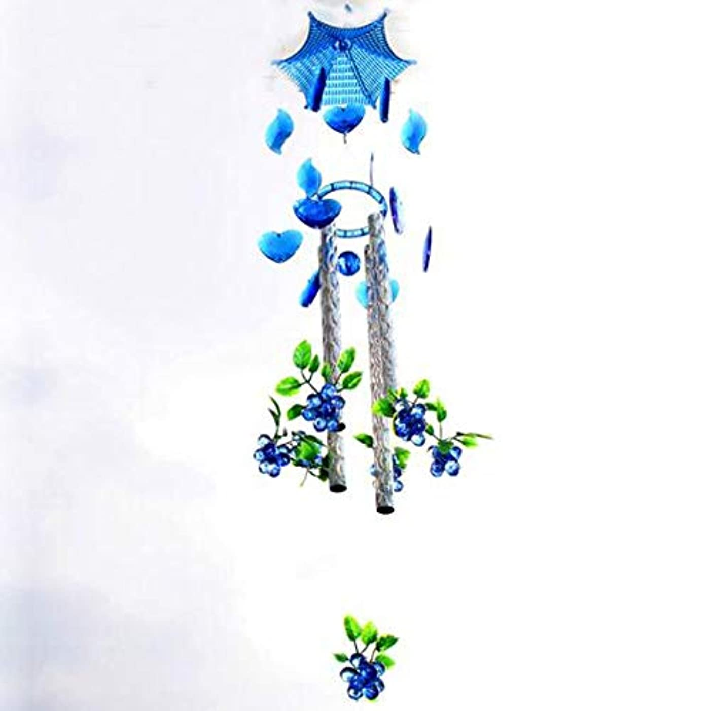 ハドル摂氏好奇心盛Hongyuantongxun 風チャイム、プラスチック金属の庭ブドウ風の鐘、ブルー、全身について80CM,、装飾品ペンダント (Color : Blue)
