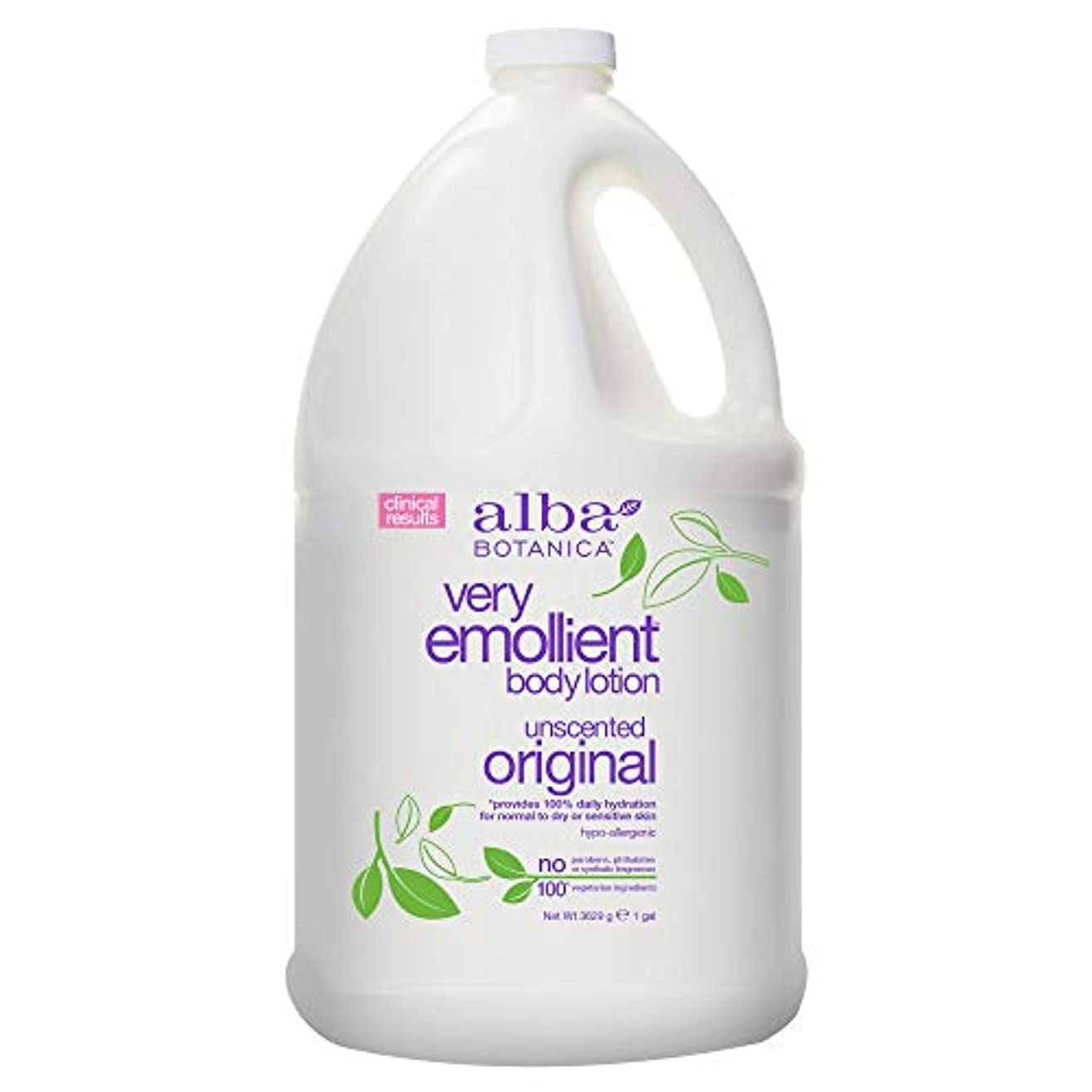 フルーティー洗う振動させるAlba Botanica Very Emollient Body Lotion Original Unscented - 1 Gallon