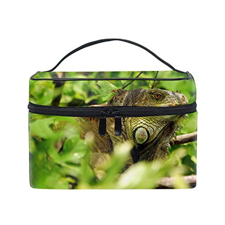 排除するスクリュー微視的グリーンイグアナトカゲ野生の自然林コスメポーチ メイクポーチ トイレタリーバッグ トラベルポーチ PC周辺小物整理