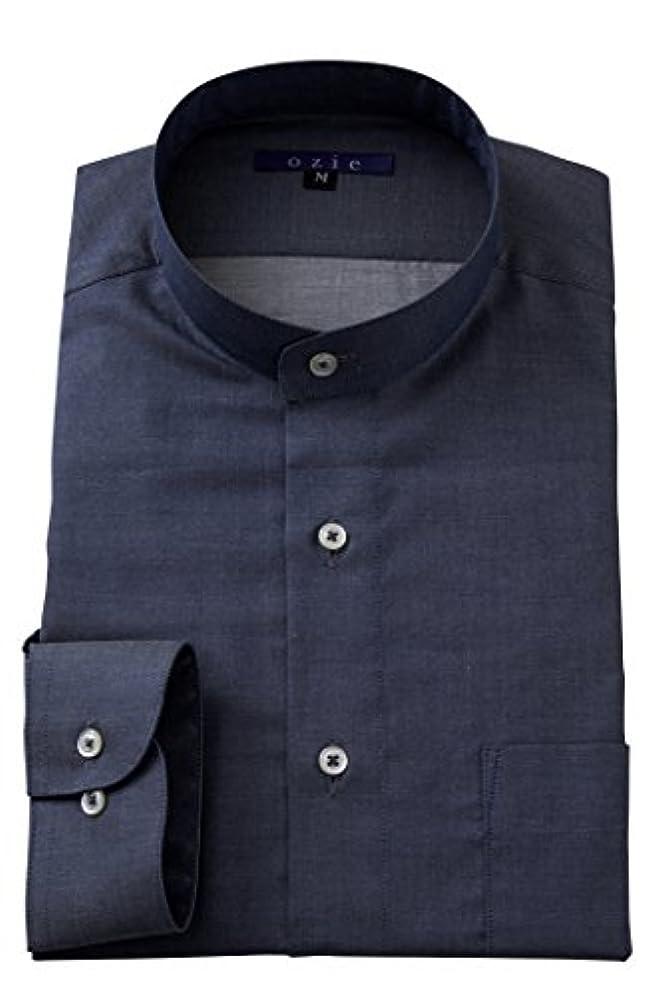 製造給料読みやすい[オジエ] ozie【メンズ?ワイシャツ?カッターシャツ】長袖?レギュラーフィット?スタンドカラー?日本製 G02A