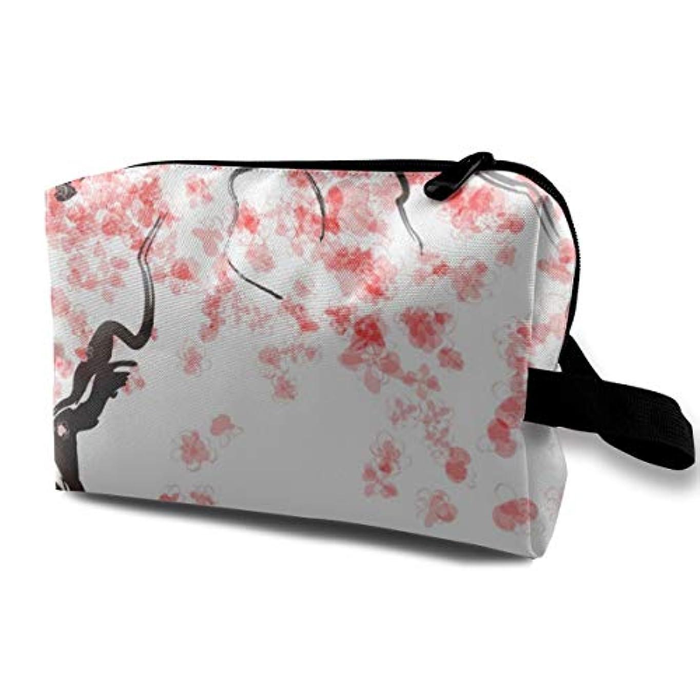 ナイトスポット通常大胆不敵Japanese Cherry Tree Blossom 収納ポーチ 化粧ポーチ 大容量 軽量 耐久性 ハンドル付持ち運び便利。入れ 自宅?出張?旅行?アウトドア撮影などに対応。メンズ レディース トラベルグッズ