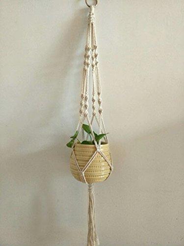 マクラメ プラントハンガー 観葉植物 吊り下げ ロープ ハンギングプランター (全長105?) (タイプB)