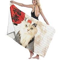 バスタオル 猫の料理人 マイクロファイバー バスタオル 大判 綿100% 吸水速乾 ふわふわ 肌触り抜群抗菌防臭 ふわふわ ホテル仕様 家庭&業務用 (130×80cm)