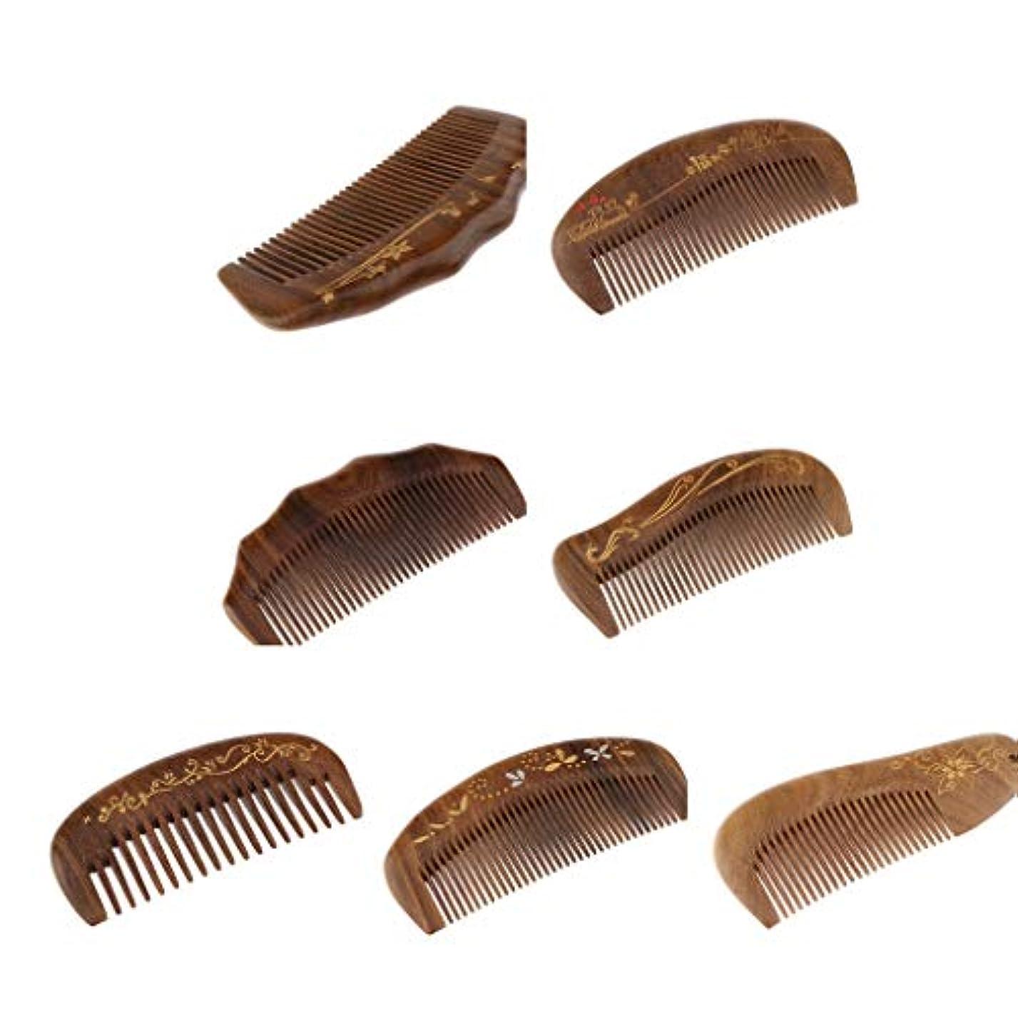 角度ニュースサーバントP Prettyia 7個 静電防止 ナチュラル 細かい歯 木製 ヘアマッサージコーム ヘアブラシ
