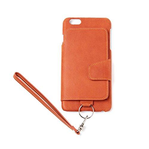 RAKUNI (ラクニ) iPhone 6/6s Plus用 本革 背面ポケット 財布型 ストラップ付き レザーケース(スタンド機能)(iPhone 6/6s Plus用) (キャラメル)