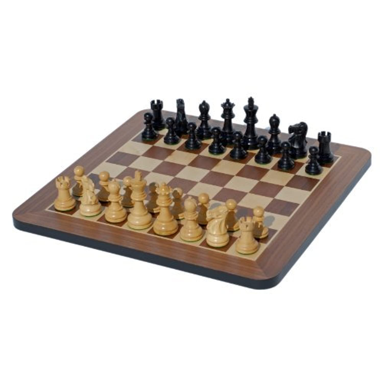 Black Stained Wood 16 inches Staunton Chess Set by WE Games