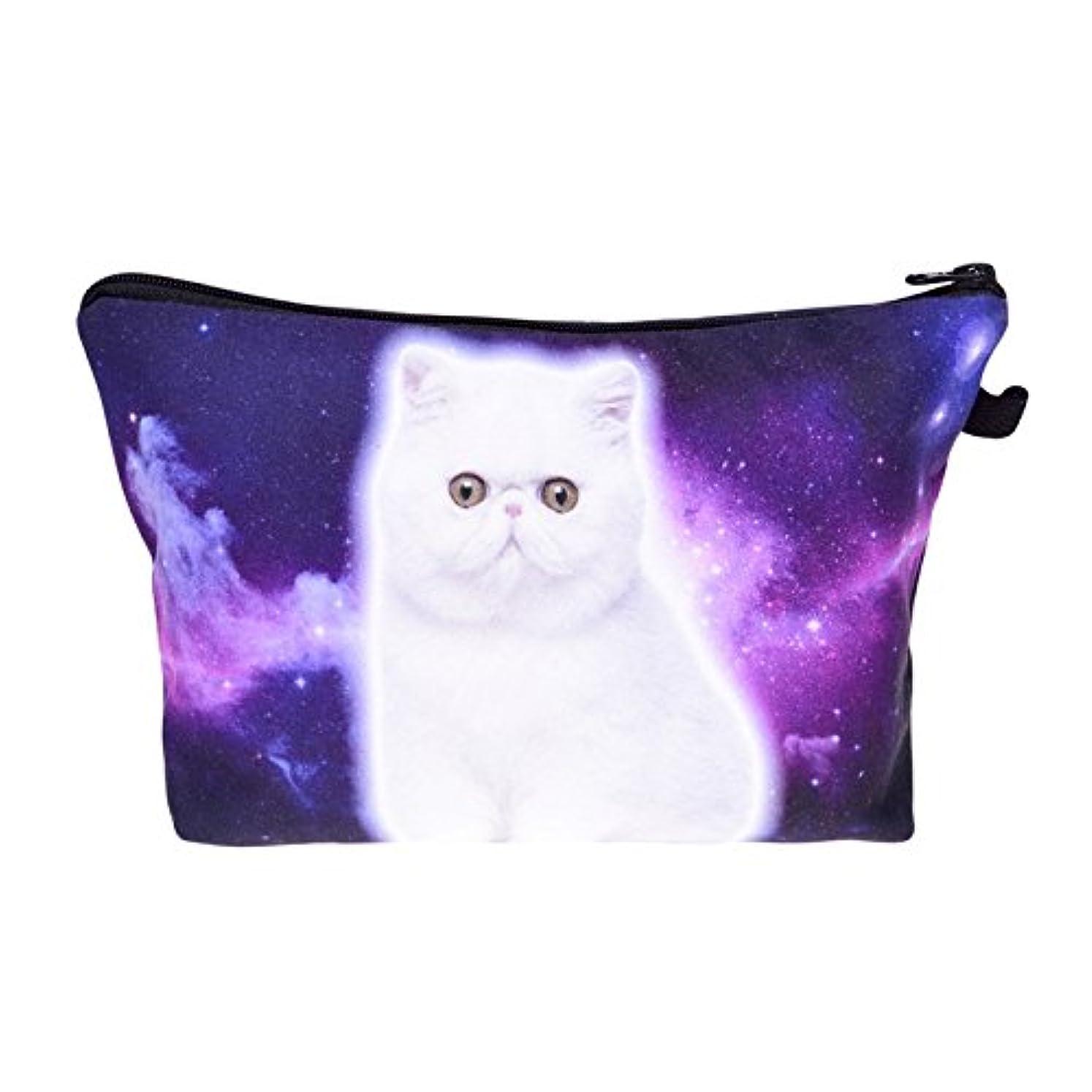 化粧バッグ 化粧ポーチ 収納ケース メイクバッグ 化粧収納バッグ 折畳式 携帯型便利 容量大きいかわいいお洒落 旅行軽量 猫柄 (紫)