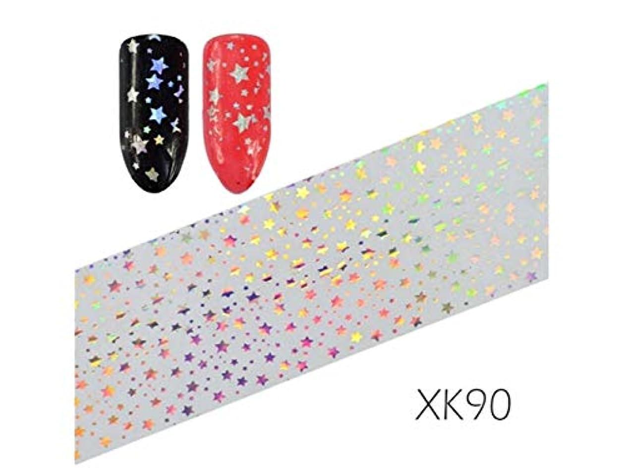 路地キャンセル交換可能Osize ファッションカラフルなフラワーネイルアートステッカー水転送ネイルステッカーネイルアクセサリー(XK84として示される) (色 : As ShownXK90, サイズ : 100x4cm)