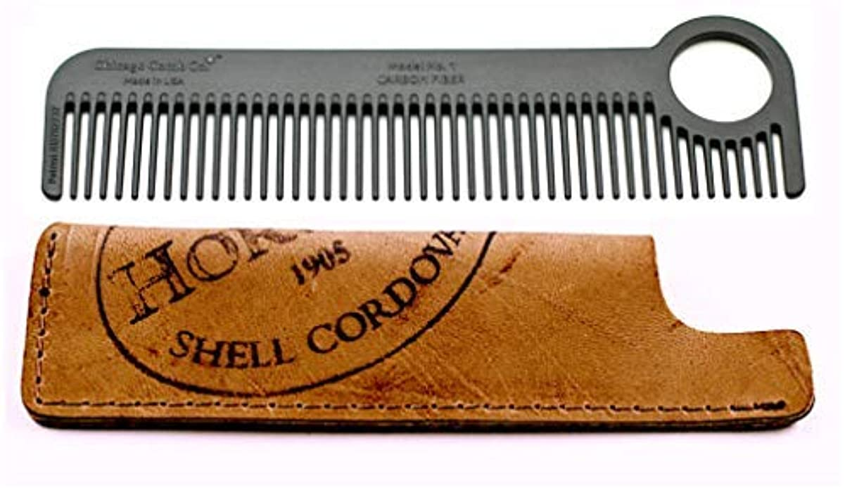 入植者ドロップペッカディロChicago Comb Model 1 Carbon Fiber Comb + Horween Shell Cordovan Color No. 8 sheath, Made in USA, ultimate pocket...