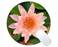 蓮の花神聖な精神的なアートワークラウンドマウスパッドカスタマイズ - ピンクの蓮のラウンドマウスパッド