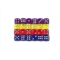 おもちゃの神様 透明 クリア ダイス 6面 サイコロ 14mm 4色 各6個 (合計24個) セット
