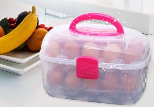 コンパクト & 清潔に 収納 持ち手付き たまごケース エッグクリアケース 30個用
