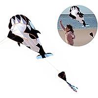 luxuglowアウトドア3d Cartoon WhaleソフトウェアKite Huge Single Line with文字列&ハンドルfor Kidsファミリブラック