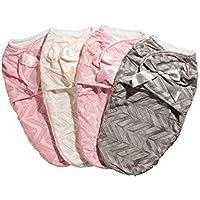 swuddle快適な新生児赤ちゃんソフトおくるみブランケット、ファブリックの向上、調節可能なベルクロの折り返しを暖かいPeaceful Sleep。Velveteen with Bow ピンク SW100